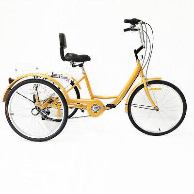 3 Ruote Triciclo Per Adulti 6 Velocità 24 Crociera In Bicicletta Gialla Cestino