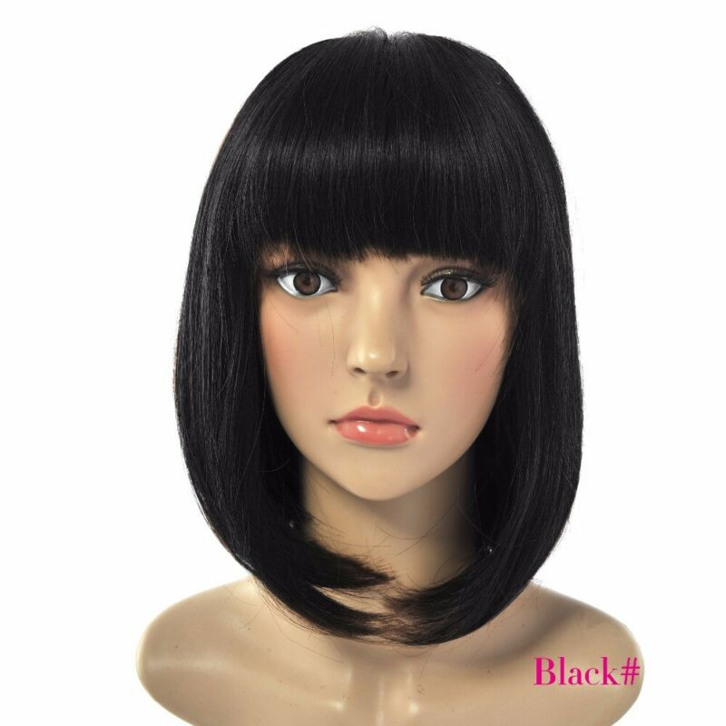 Femmes Black Style Bob Perruques Droites Cosplay Naturel Cheveux Courts G 3