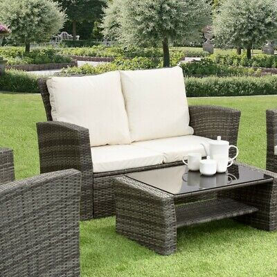 GSD Rattan Garden Furniture 4 Piece Patio Set Table Chairs Grey Black or Brown 9