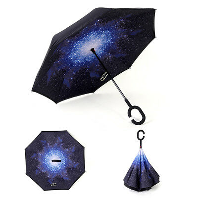 Windproof Upside Down Reverse Umbrella Double Layer Inside-Out Inverted C-Handle 2