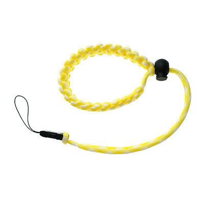 Yellow/White Quick Release Braided 550 Paracord Adjustable Camera Wrist Strap 7