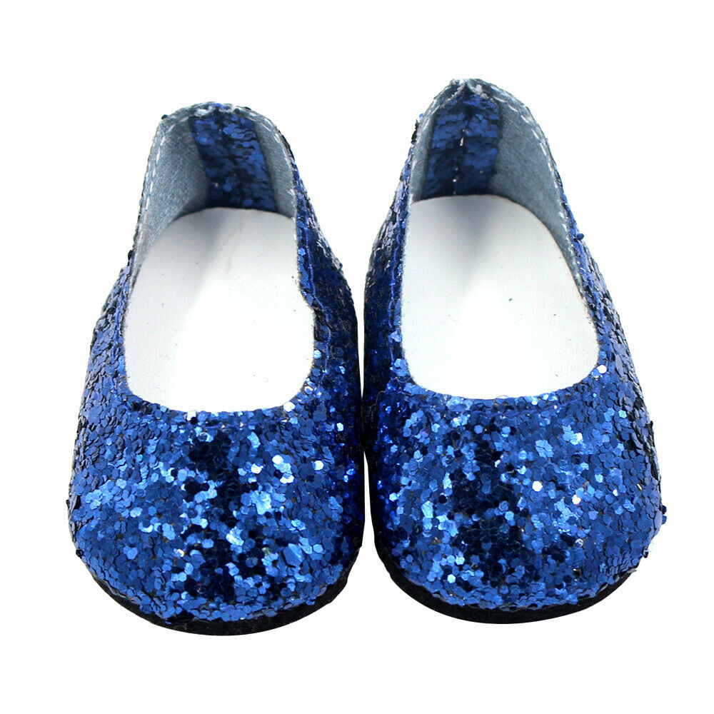 6Pairs Modern Doll Shoes Sparkle Sequined Shoe For 18 inch American Girl Doll 3