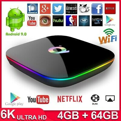Android 9.0 Multimédia TV Box Q Plus Quad-Core 4GB+32GB/64GB 6K WiFi USB 3.0 2