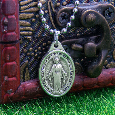 "Miraculous Medal Virgin Mary Pendant Necklace 24"" Chain Italy Silver Tone Alloy 6"