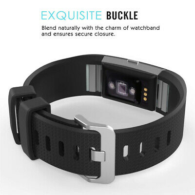 Fitbit Charge 2 Bands Replacement Silicone Metal Wristband Watch Strap Sports AU 7