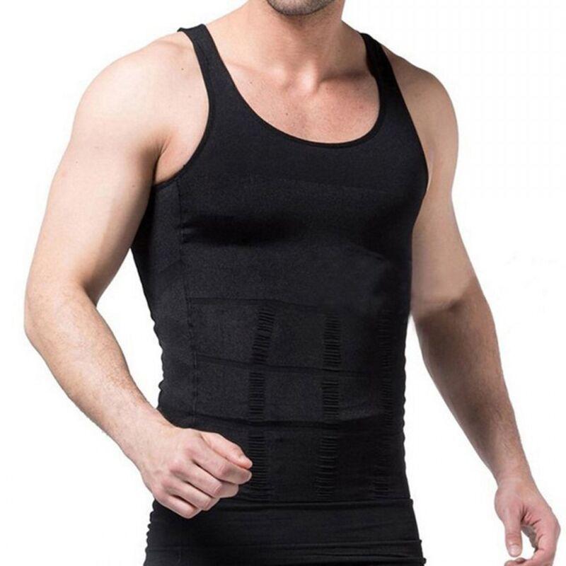 06974f602 Men Slim Shirt Body Shaper Vest Fashion Compression Tank Top Corset Weight  Loss 9 9 of 12 ...