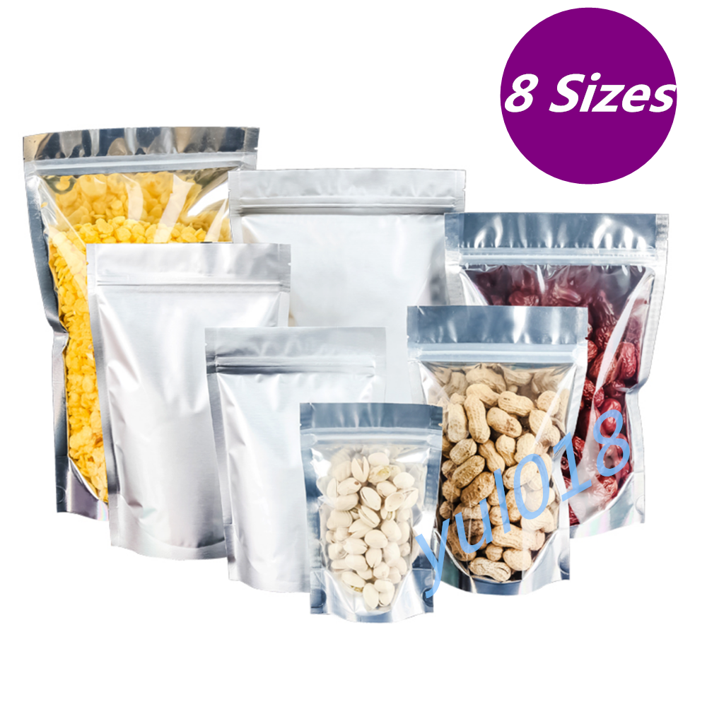 Aluminum Foil Mylar Food Packaging Ziplock Stand Up Pouches Bags Clear / Silver 3