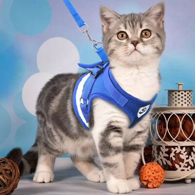 Cat Walking Jacket Harness Leash Escape Proof Adjustable Pet Puppy Dog Mesh Vest 3