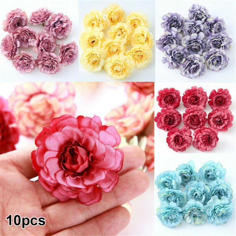 """10//100 Artificial Rose Heads 2/""""Flower Silk Bulk Party Wedding Fake Bouquet Decor"""