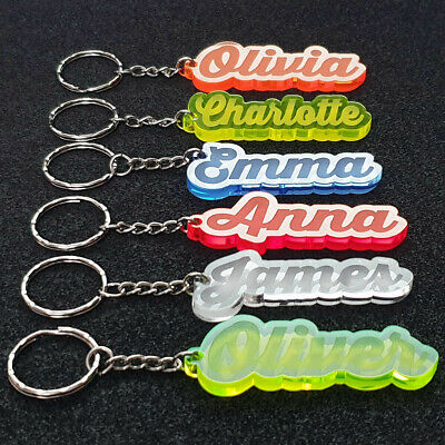 Personalised FROZEN KEYRING KEYCHAIN GIFT ANY NAME SCHOOL BAG  WORD TAG WOW 2