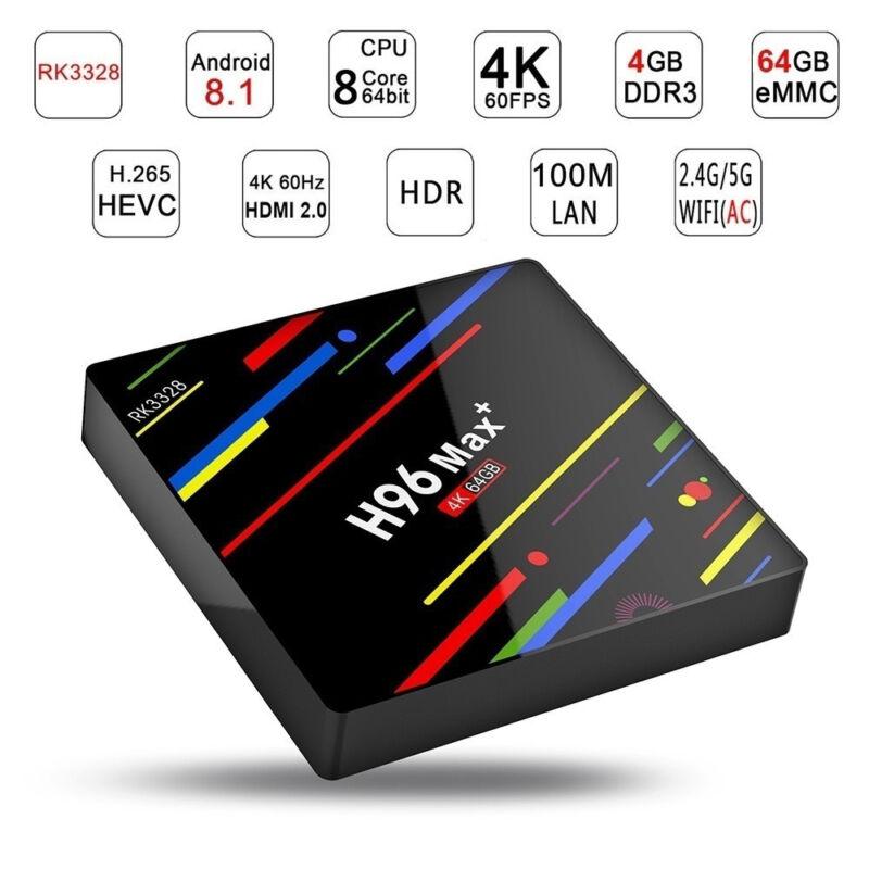 Smart TV BOX H96 MAX+ Android 8.1 Mini PC Quad Core WiFi 4Gb 32/64GB 4K 1080P SH 9