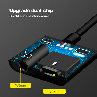 2in1 USB Type-C to 3.5mm Headphone Jack Adapter AUX & Sync Data Charge Cable 4