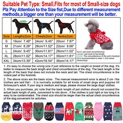 Small Pet Dog Cat Christmas Chihuahua Coat Jumper Knit Sweater Hoodie Clothes 2