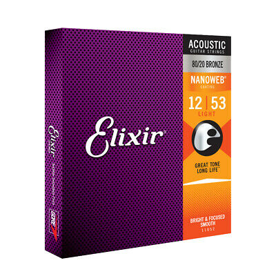 3 Sets Elixir Nanoweb Acoustic Light Guitar Strings 12-53 11052 3