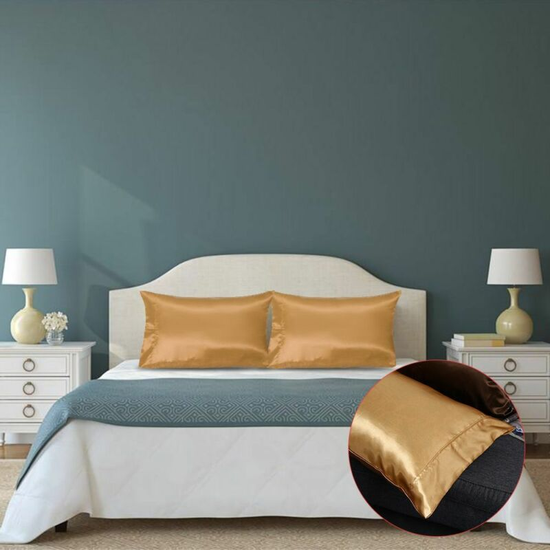 Hot 1/2Pcs Mulberry Silk Pillow Case Pillowcase Covers Housewife Queen Standard 9