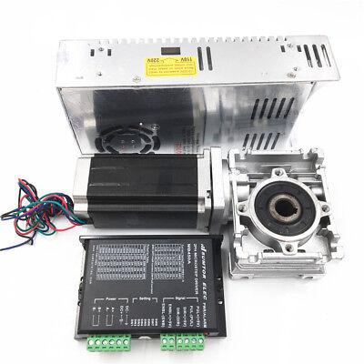 3NM Stepper Motor NEMA23 Drive Kit L112mm Worm Gear Reducer30:1&Power Supply CNC 10