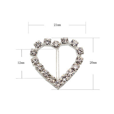 10 Circle, Heart, Or Square Diamante Rhinestone Crystal Buckle Ribbon Sliders 8