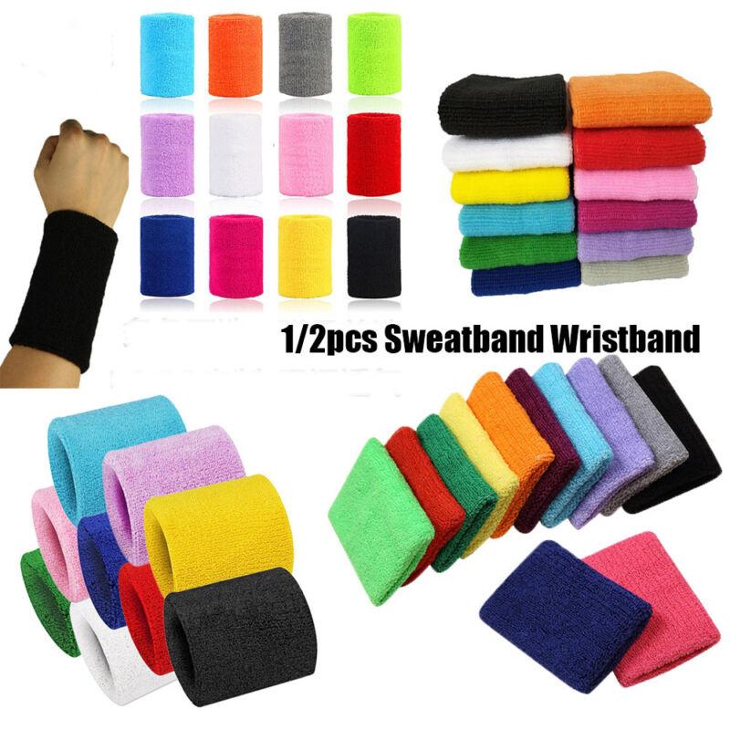 Unisex Cotton Sweatband Sports Wrist Band Tennis Gym Yoga Sweat-Wristbands 5