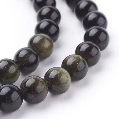 lot de 30 perles  6 mm obsidienne dorée gemme  naturel 2