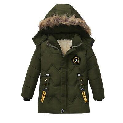 Boys Kids Winter Coat Hooded Warm Cotton Fur Padded Parka Jacket Outerwear 2-6Y 5