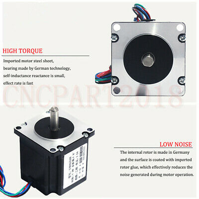 Stepper Motor Nema23 330oz-in 2.2NM 1.8° 4-wires+TB6600 Driver Kit 3A CNC Router 5