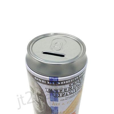 "Tin Money Piggy Bank Can Savings 7.5"" Franklin Coin Jar Saver Great For Kids! 4"