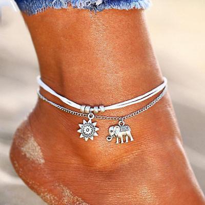 Ankle Bracelet Sun Elephant Black White Corded Wrist Anklet Hippy Vibe Bohemian 5
