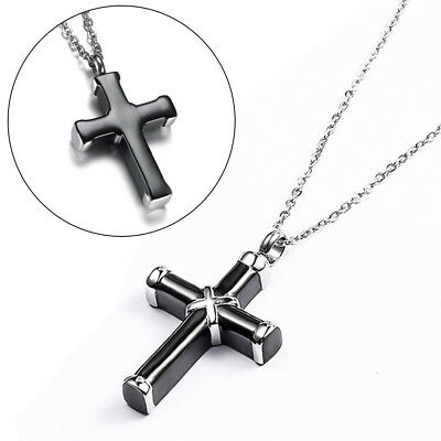 Black & Silver Cremation Urn Ashes Holder Stainless Memorial Men Cross Necklace 4