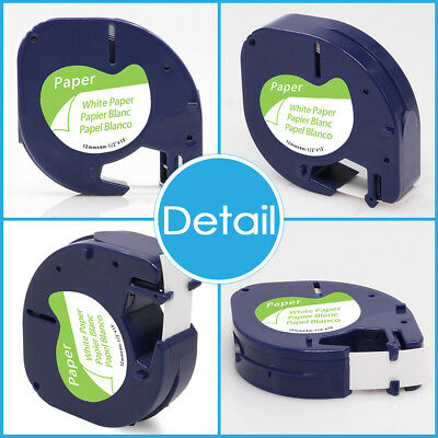 10PK 91330 White Paper Compatible DYMO LetraTag 92630 12mm Label Tape Laminated 2