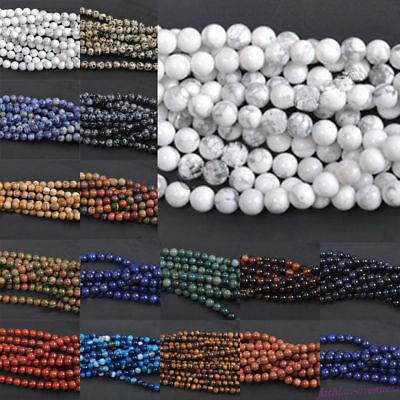Natural Gemstone Round Spacer Loose Beads 4mm 6mm 8mm 10mm 12mm Assorted Stones 5