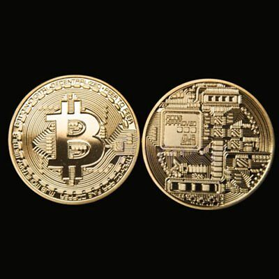 Gold Bitcoin Commemorative Round Collectors Coin Bit Coin Gold Plated Coins ILO
