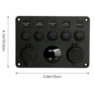 12V 24V 5 Gang Car ON-OFF Toggle Switch Panel Dual USB Socket Charger Voltmeter 9