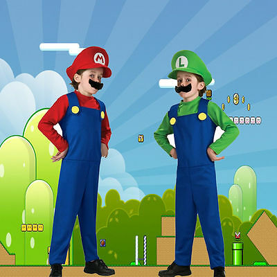 Men Adult Kids Women's Super Mario and Luigi Fancy Dress Cosplay Costume Outfit. 12