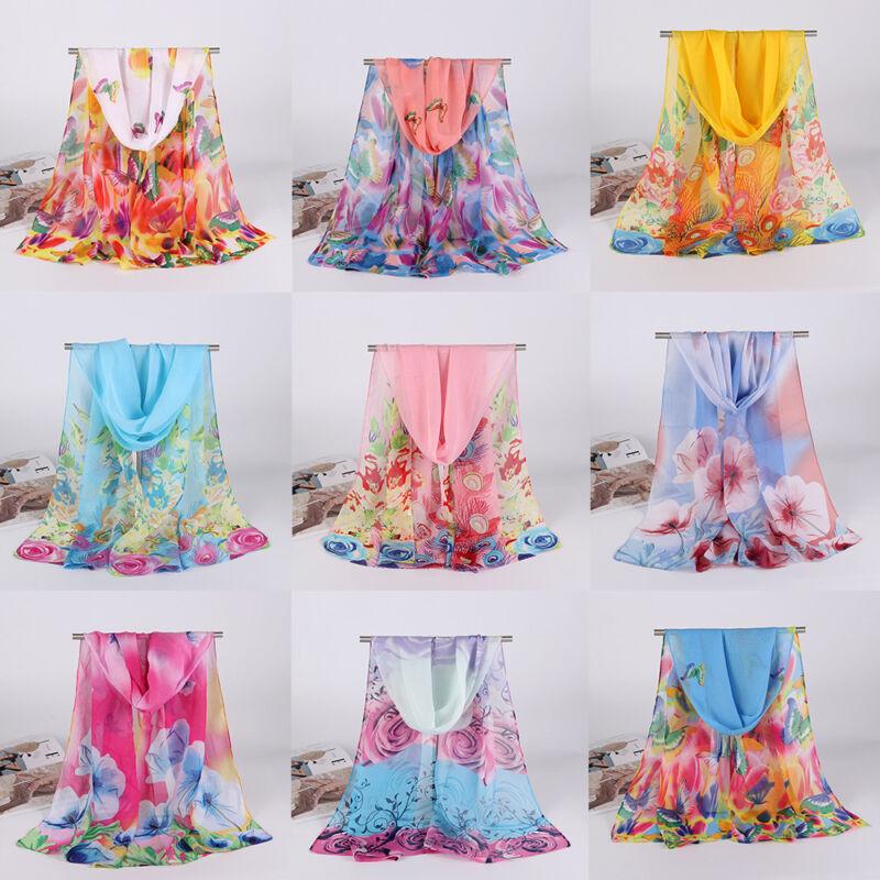 Women Elegant  Long Soft Chiffon Floral Scarf Wrap Shawl Stole Scarves Gifts 3