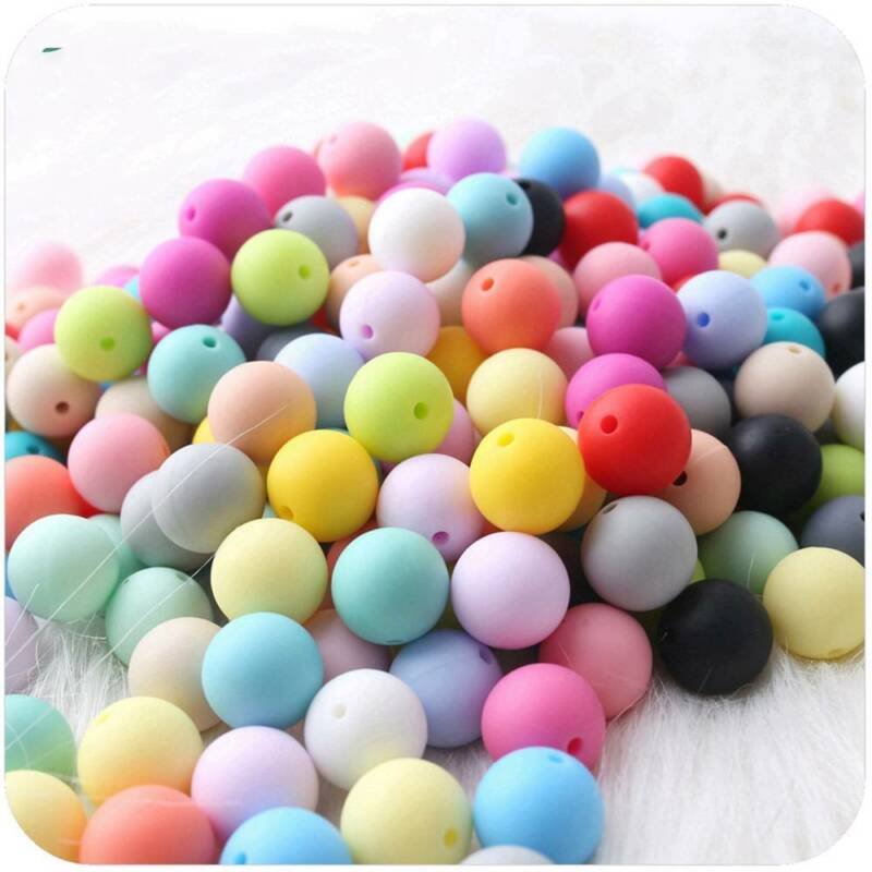 10Pcs 12mm Silicone Loose Beads Baby Teething Teether DIY Necklace Pacifier Clip 3