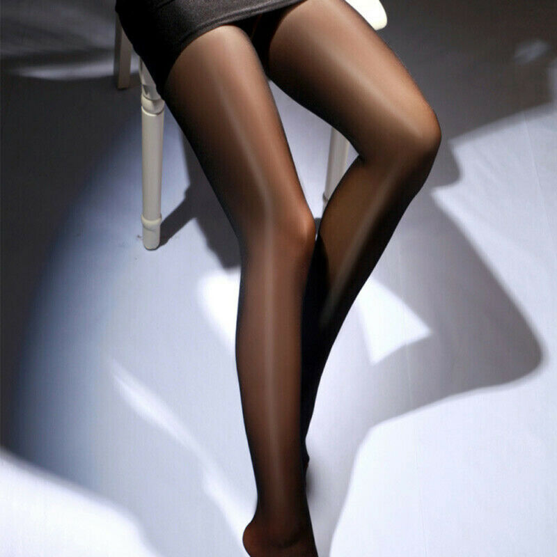 Seamless Women Pantyhose Stocking Oil Glossy Shiny Sheer Tights Crotch/Crotchles 10