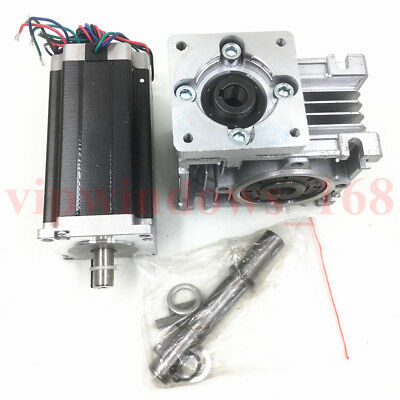 Nema23 Worm Gearbox 7.5:1 Stepper Motor 4.2A 22.5Nm L112mm Speed Reducer CNC 7