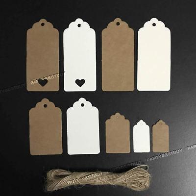 100 Per Pack | ECO KRAFT Paper Gift TAGS Card Label | Free string | UK Seller 7