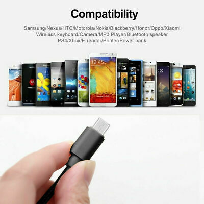 Micro USB Android Samsung Galaxy S7  Fast Charger Cable Charging Line Mobile 6