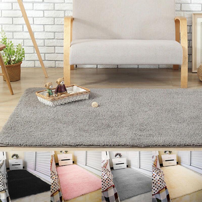 Fluffy Rugs Anti-Skid Shaggy Area Rug Dining Room Carpet Floor Mats Home Bedroom 8