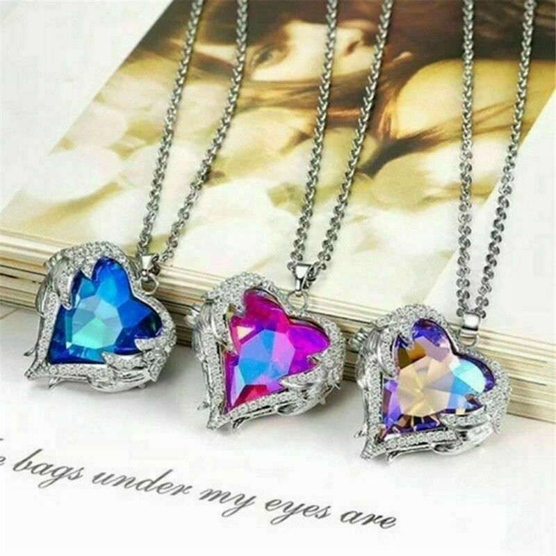 925 Silver Angel Wing Necklace Heart Rhinestone Crystal Chain Pendant Jewelry 4