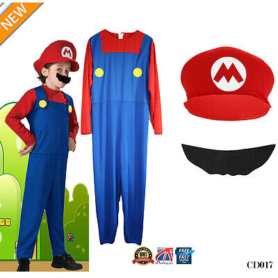 Men Adult Kids Women's Super Mario and Luigi Fancy Dress Cosplay Costume Outfit. 8