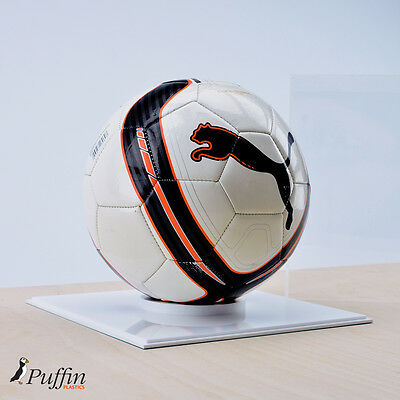 Perspex Football Display Case - WHITE BASE (WITH FREE PERSONALISED PLAQUE) 4