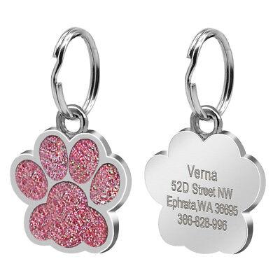 Round Bone Paw Print Custom Personalized Dog Tags Disc Free Engraved Cat ID Tag 5