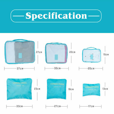6Pcs Packing Cubes Travel Pouches Luggage Organiser Clothes Suitcase Storage Bag 2