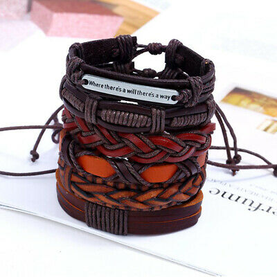 6pcs Fashion Men's Leather Wrap Braided Wristband Cuff Punk Wide Bracelet Bangle 2