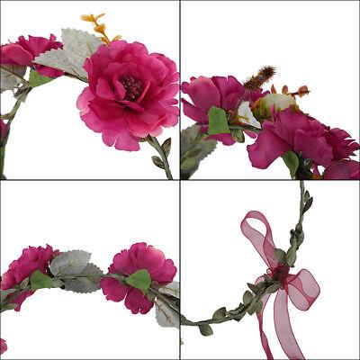 Adjustable Women's Beautiful Flower Crown Headband Hair Wreath Garland Ribbon 2