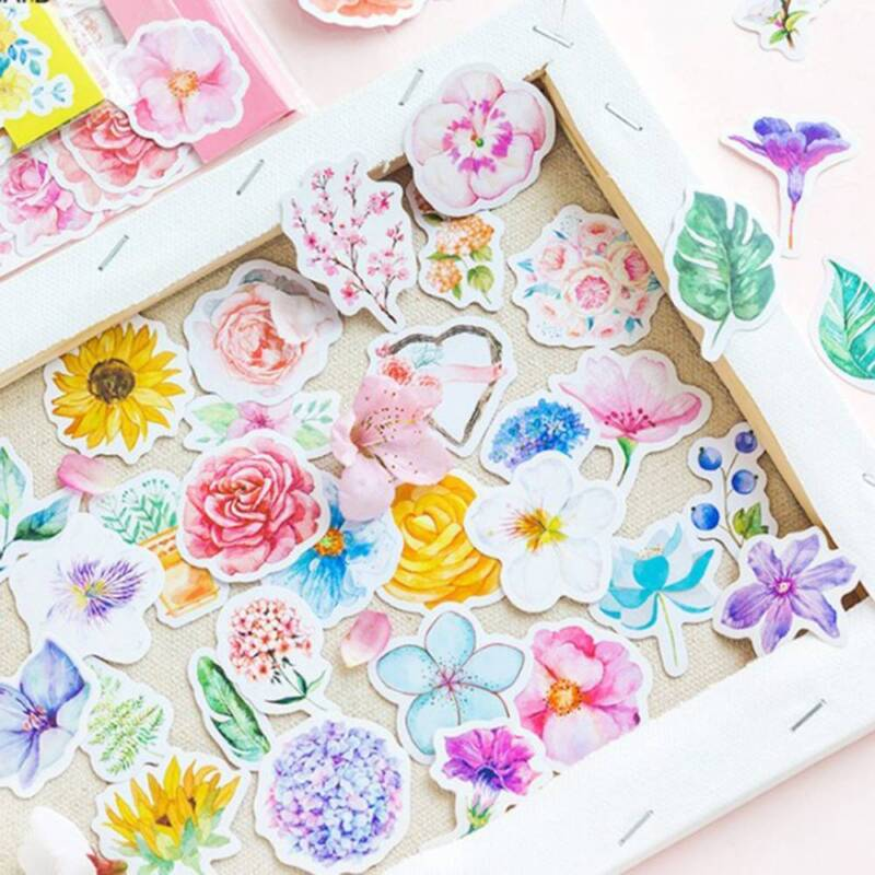 45Pcs/bag Cute Diary Journal Flower Stickers Scrapbooking Japanese Style Decor 2
