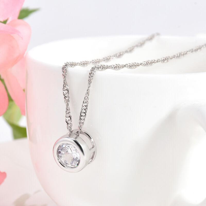 Fashion Women Round Single Crystal Rhinestone Silver Pendant Necklace Jewelry 7