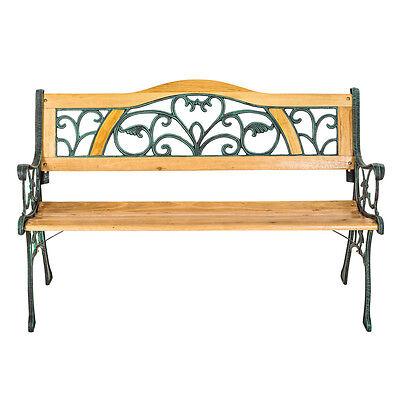 Banc mobilier meuble de jardin parc terrasse en bois et fonte 124cm 3